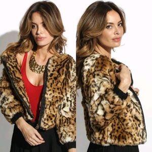 Stussy Kimba Faux Fur Leopard Print Coat Jacket